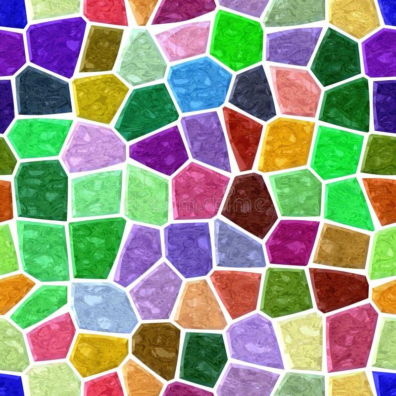 Fond sans couture de modèle de mosaïque de marbre de plancher avec le coulis blanc - spectre polychrome - vert, bleu, pourpre, vi illustration libre de droits