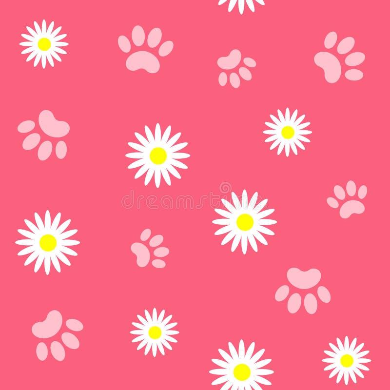 Fond sans couture de modèle de patte et de marguerite sur le rose illustration libre de droits