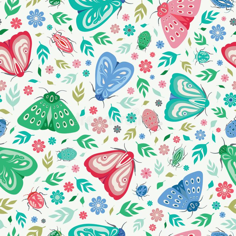 Fond sans couture de modèle de répétition des mites, des scarabées, des feuilles et des fleurs colorés Un fond de vecteur des ins illustration de vecteur