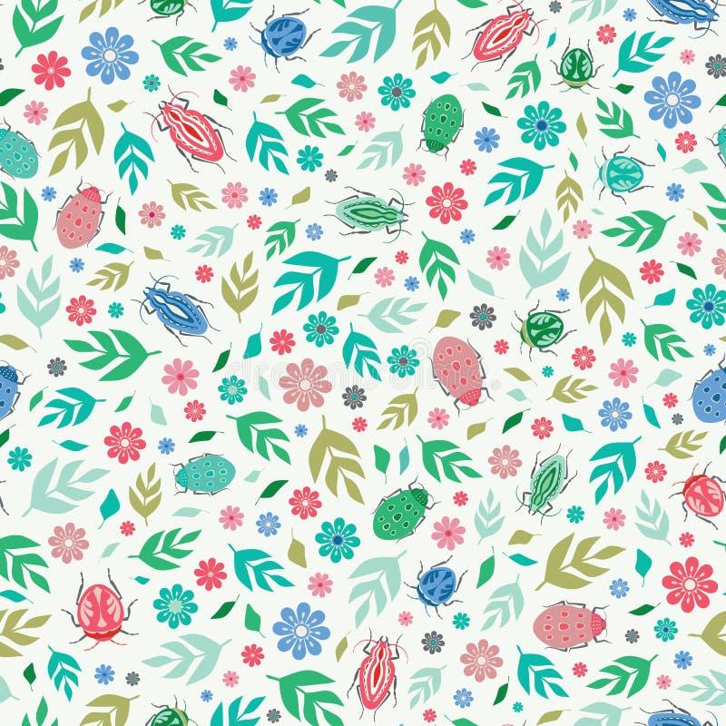 Fond sans couture de modèle de répétition des scarabées, des feuilles et des fleurs colorés Une conception de surface de vecteur  illustration stock