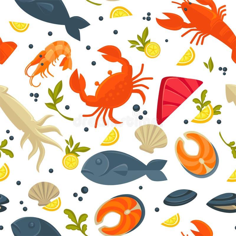 Fond sans couture de modèle de vecteur de crochet de poisson frais de fruits de mer illustration stock