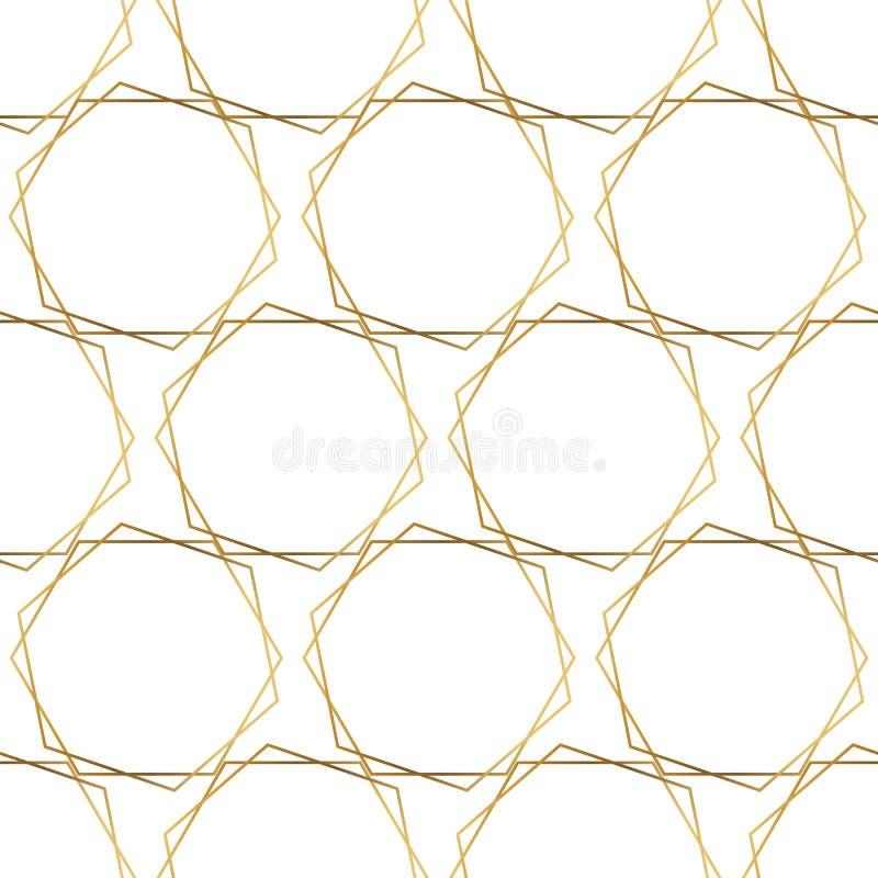 Fond sans couture de modèle de vecteur d'hexagones de feuille d'or Formes brillantes métalliques géométriques de feuille d'or sur illustration stock