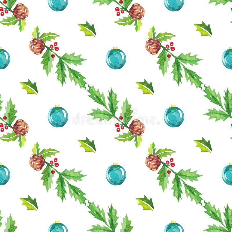 Fond sans couture de Noël d'aquarelle illustration de vecteur