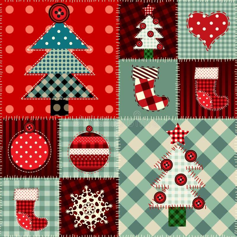 Fond sans couture de Noël dans le style de patchwork illustration stock