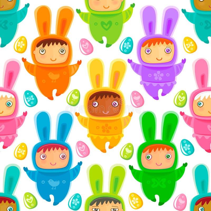 Fond sans couture de Pâques avec des enfants de lapin illustration libre de droits