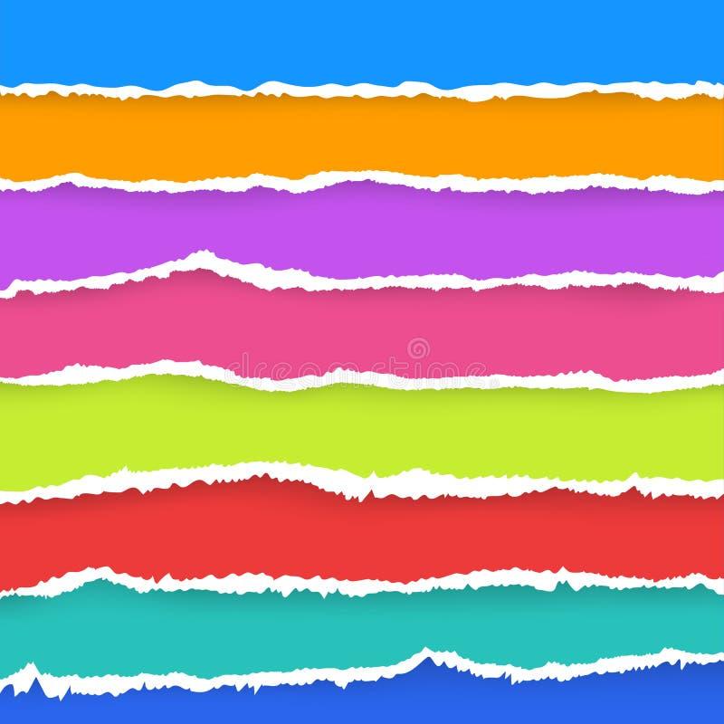 Fond sans couture de papier de modèle de couleur déchiré par bande dessinée Vecteur illustration libre de droits
