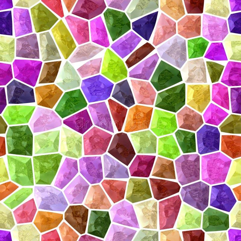 Fond sans couture de plancher de mosaïque extérieure de marbre avec le coulis blanc - spectre polychrome - rose, pourpre, vert, b illustration stock