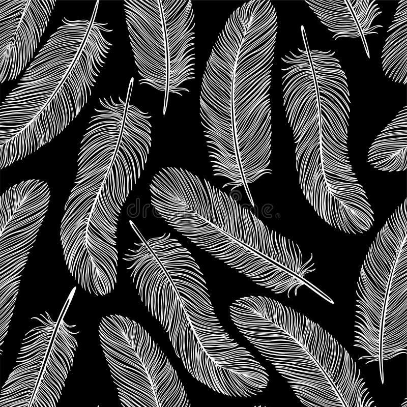 Fond sans couture de plume noire et blanche illustration de vecteur