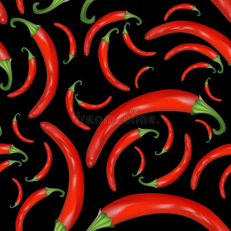 Fond sans couture de poivre d'un rouge ardent illustration stock