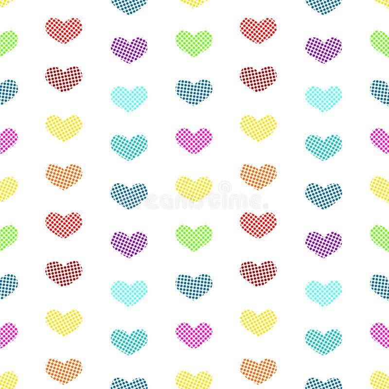 Fond sans couture de polka de coeurs minuscules de point illustration de vecteur