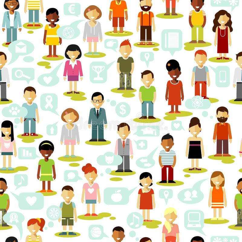 Fond sans couture de réseau social de personnes illustration de vecteur