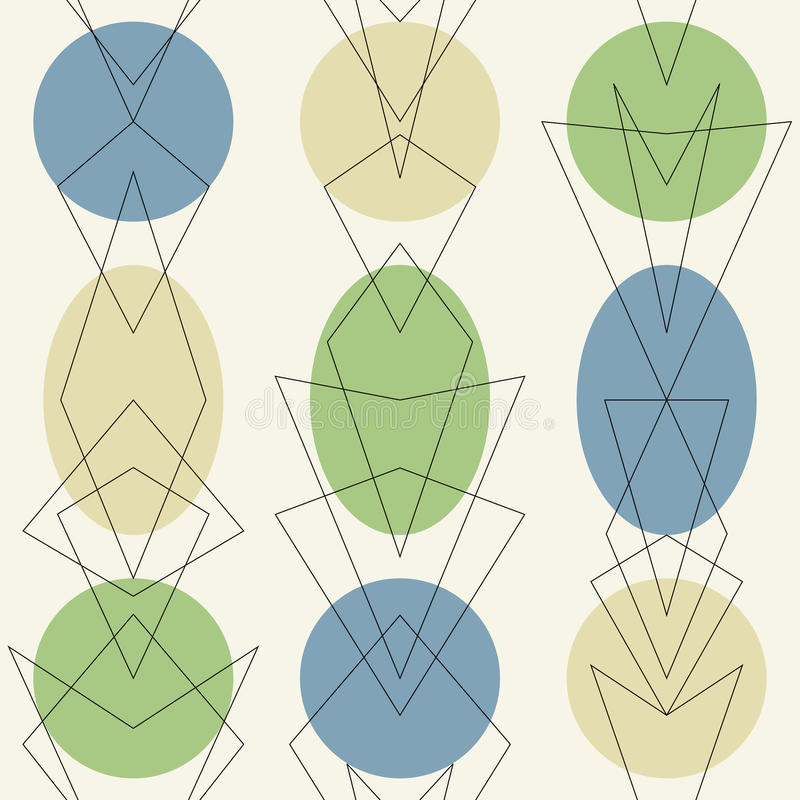 Fond sans couture de rétro des années 1950 vintage atomique de la moitié du siècle illustration de vecteur