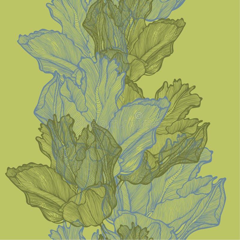 Fond sans couture de ressort avec des tulipes, main-dessin Défectuosité de vecteur illustration de vecteur