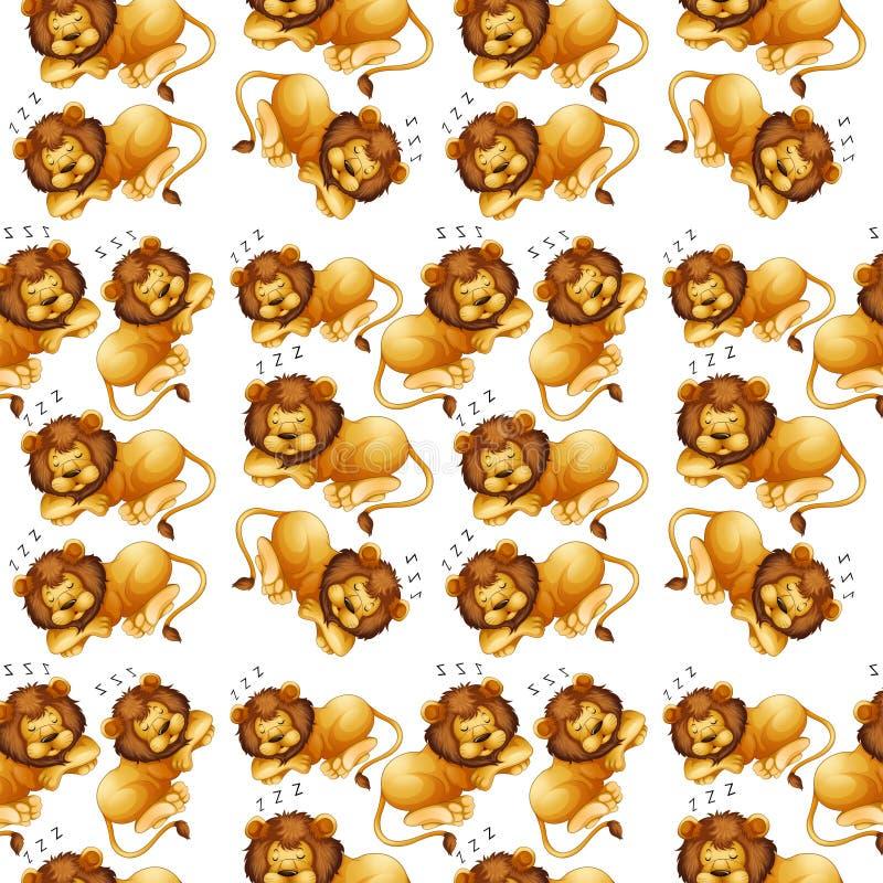 Fond sans couture de sommeil de lion illustration libre de droits
