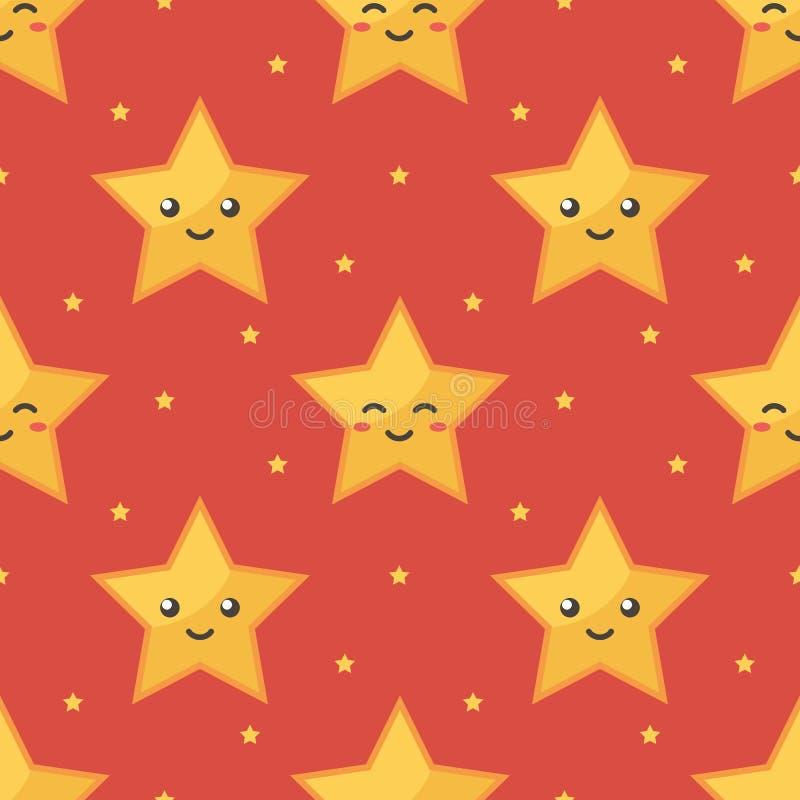 Fond sans couture de sourire de rouge de modèle de caractères d'étoile d'emoji jaune illustration stock