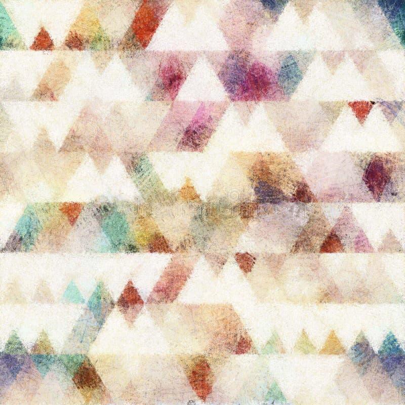 Fond sans couture de style de couleur d'eau de la géométrie illustration stock