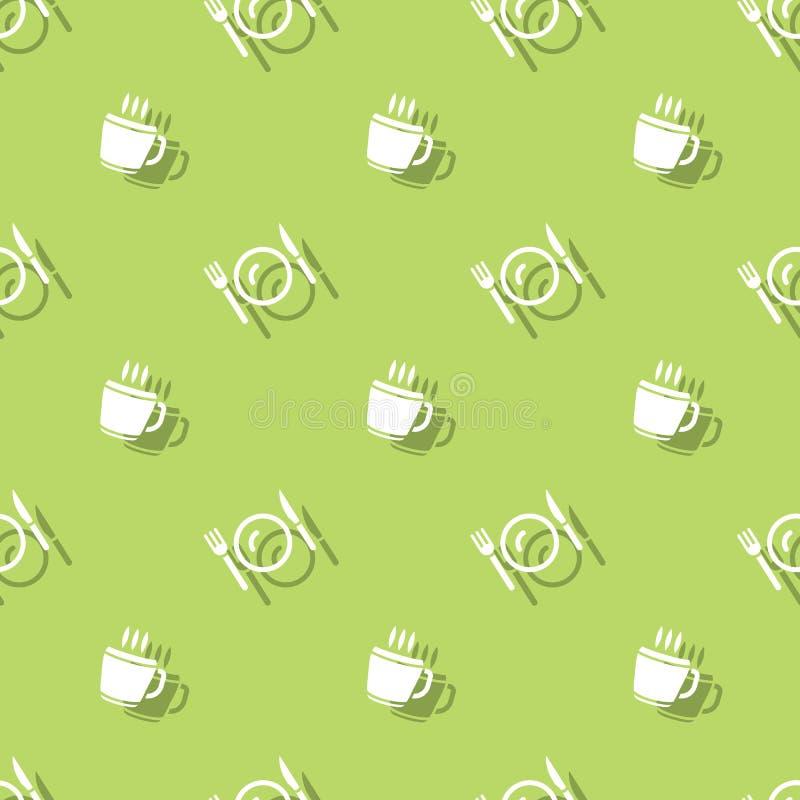 Fond sans couture de tasse et de couverts de boissons de temps de repas illustration stock