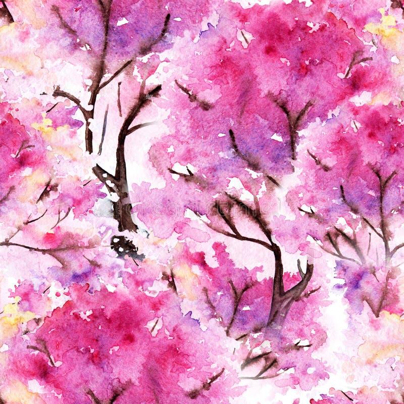 Fond sans couture de texture de modèle de Sakura de cerise rose d'aquarelle illustration stock