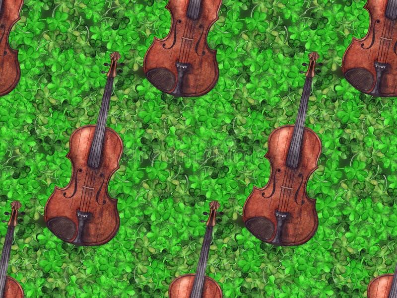 Fond sans couture de texture de modèle de l'Irlande de vintage d'aquarelle de violon de violon d'instrument de musique de trèfle  illustration libre de droits