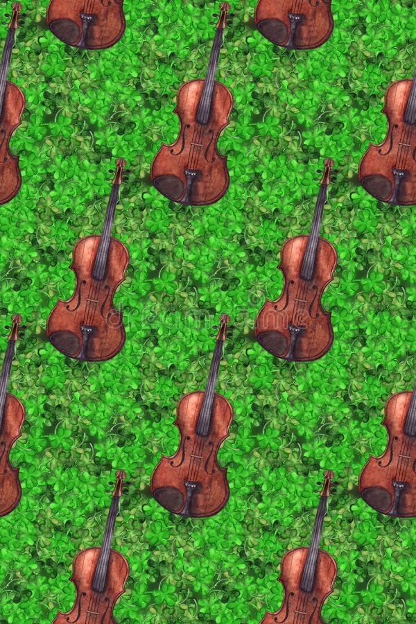 Fond sans couture de texture de modèle de vintage d'aquarelle de violon de violon d'instrument de musique de trèfle d'usine en bo illustration stock