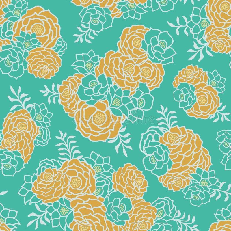 Fond sans couture de texture de vecteur de bouquet floral d'or vert illustration stock