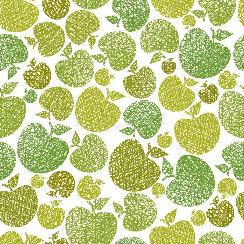 Fond sans couture de thème d'aliment biologique, modèle sans couture de pommes, illustration de vecteur
