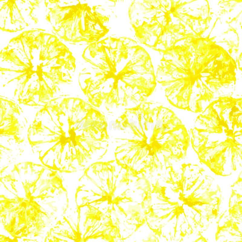 Fond sans couture de timbre de citron Modèle de jus de citron avec le timbre des silhouettes jaunes illustration libre de droits