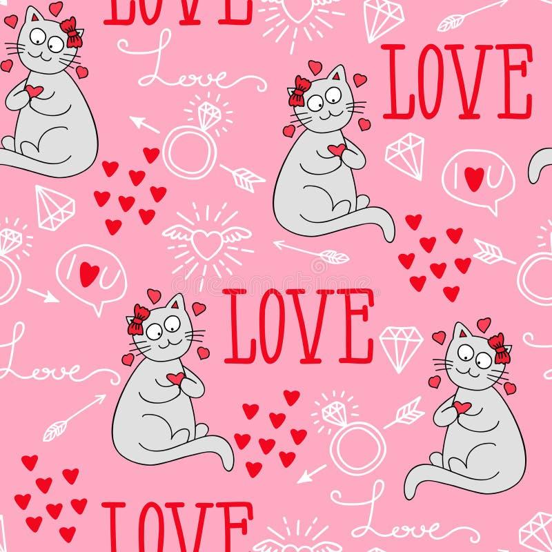 Fond sans couture de vecteur avec des coeurs, flèches, boucles, chats, amour illustration pour le tissu, le papier scrapbooking e illustration de vecteur
