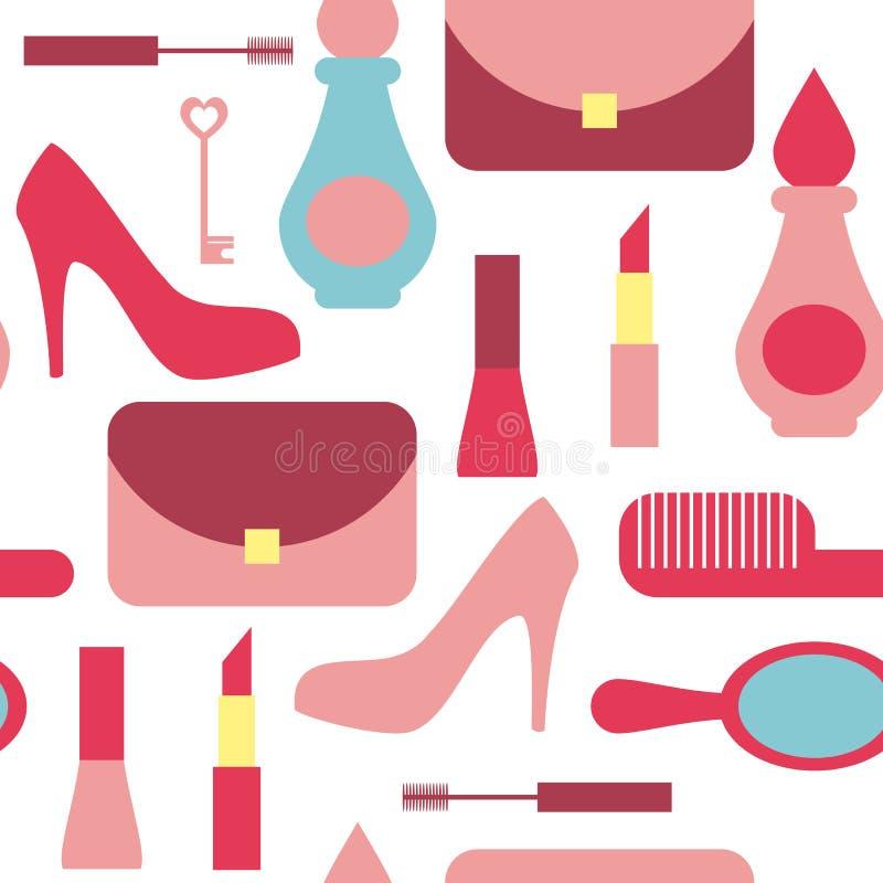 Fond sans couture de vecteur avec des icônes d'achats Mode et fond d'accessoires de femmes illustration libre de droits