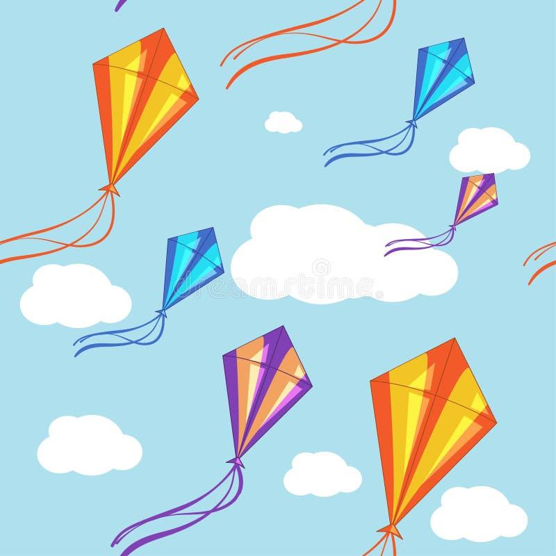 Fond sans couture de vecteur avec les cerfs-volants colorés dans le ciel bleu Configuration sans joint illustration de vecteur