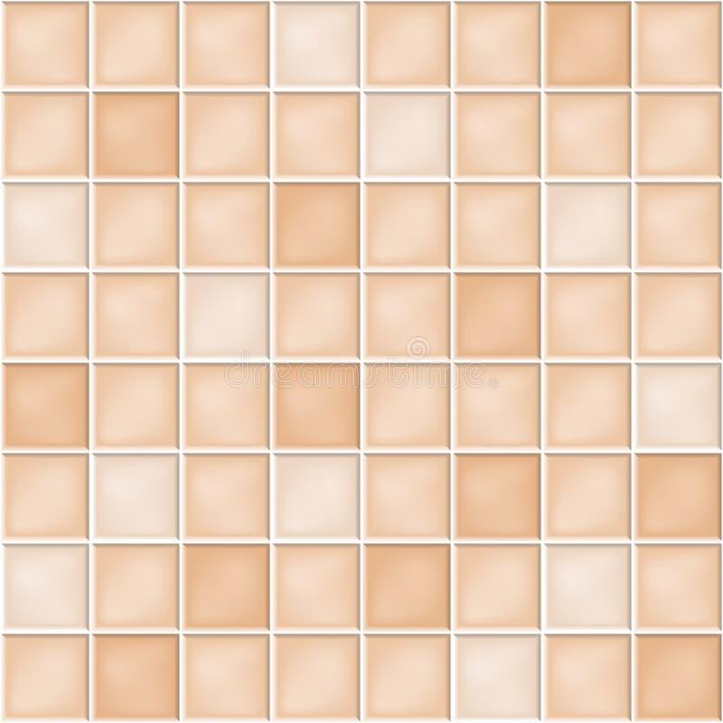 Fond sans couture de vecteur avec les tuiles de mosaïque beiges illustration libre de droits