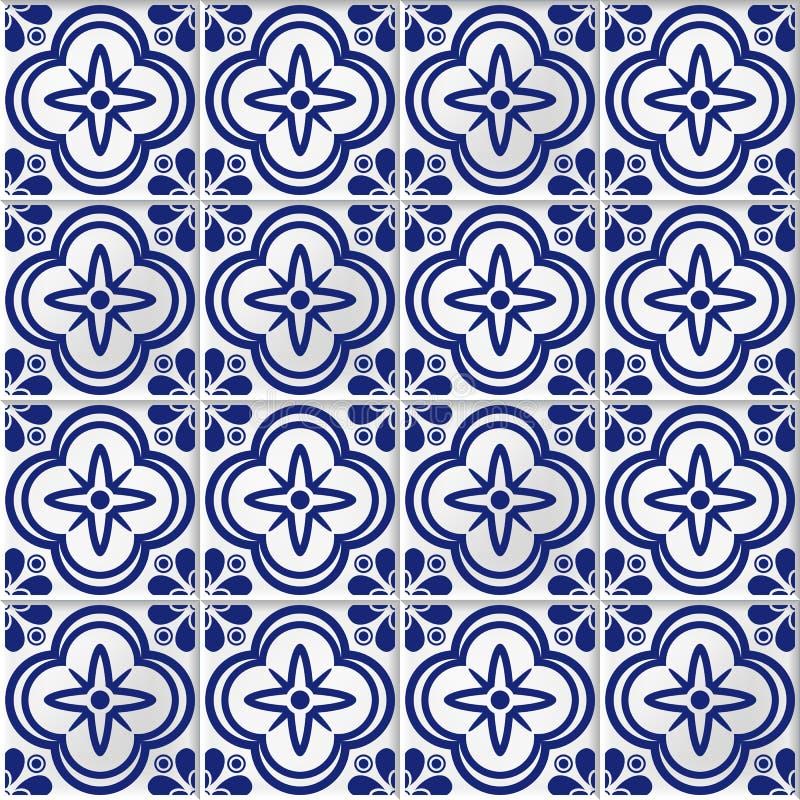 Fond sans couture de vecteur avec les tuiles de mosaïque orientales illustration de vecteur