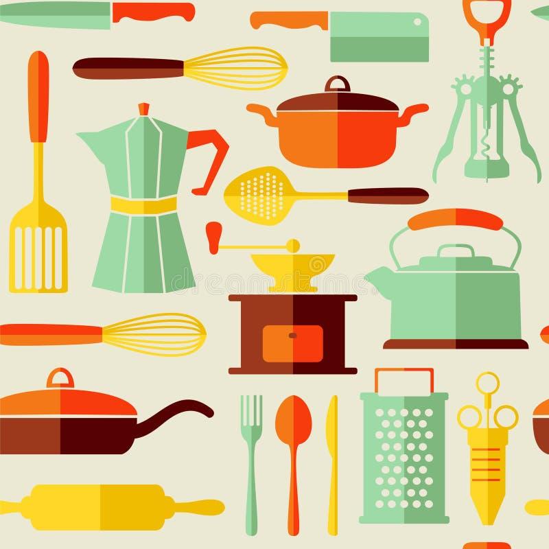 Fond sans couture de vecteur de cuisine avec les icônes plates de style illustration libre de droits