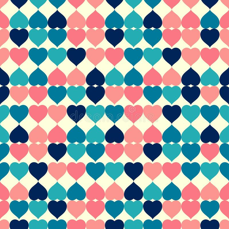 Fond sans couture de vecteur de modèle de rétro tuile colorée de forme de coeur illustration de vecteur