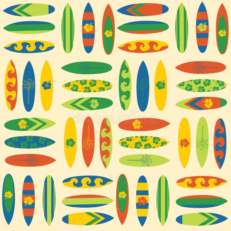 Fond sans couture de vecteur de planches de surf de cru Surfez le fond de sport dans le rétro style Illustration de voyage de vac illustration libre de droits