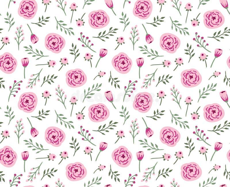 Fond sans couture de vintage avec des fleurs et des herbes de champ illustration stock
