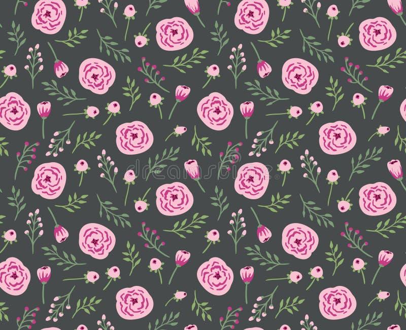 Fond sans couture de vintage avec des fleurs et des herbes de champ illustration libre de droits