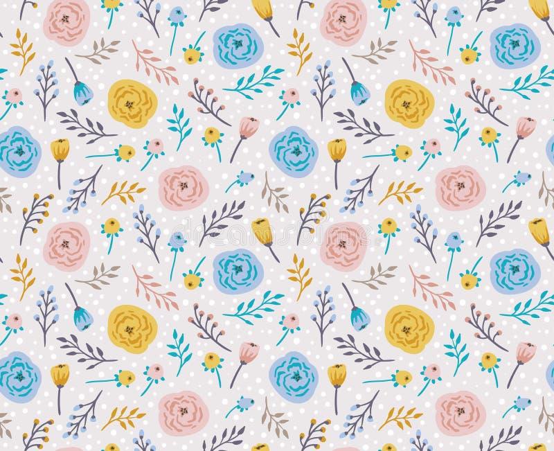 Fond sans couture de vintage avec des fleurs et des herbes de champ illustration de vecteur