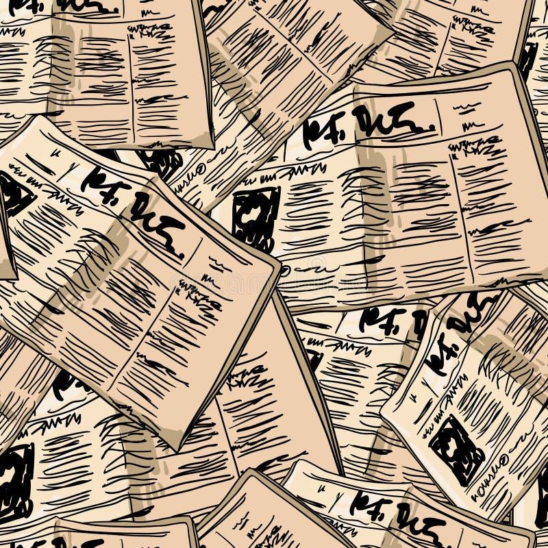 Fond sans couture de vintage de journal illustration stock