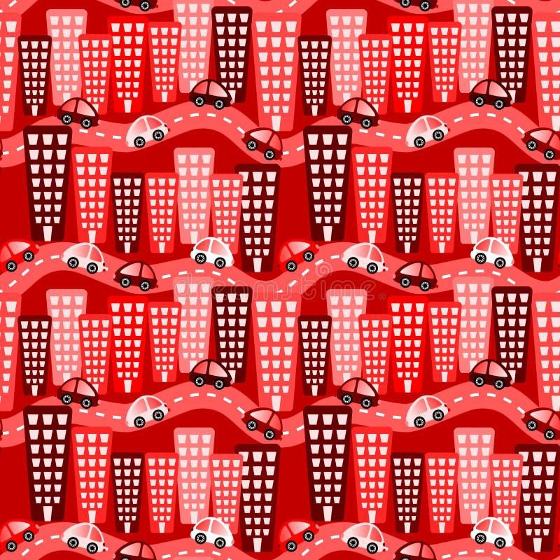 Fond sans couture de voitures rouges de ville illustration libre de droits