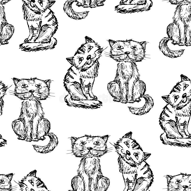 Fond sans couture des chats drôles tirés illustration libre de droits