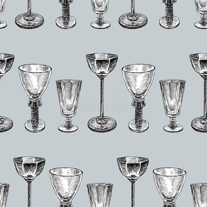 Fond sans couture des divers verres de vin illustration libre de droits