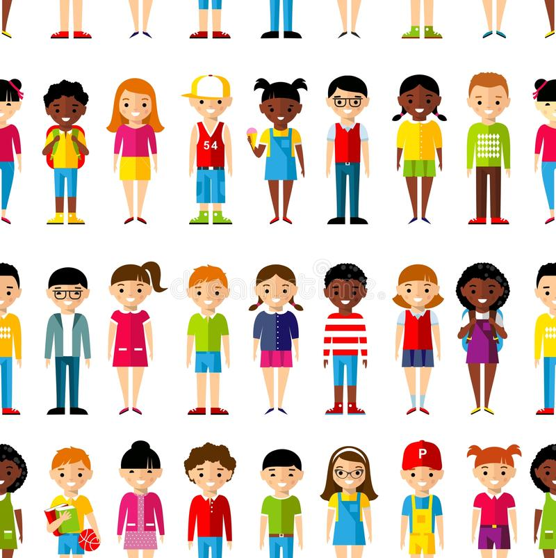 Fond sans couture des enfants réglés d'international illustration stock