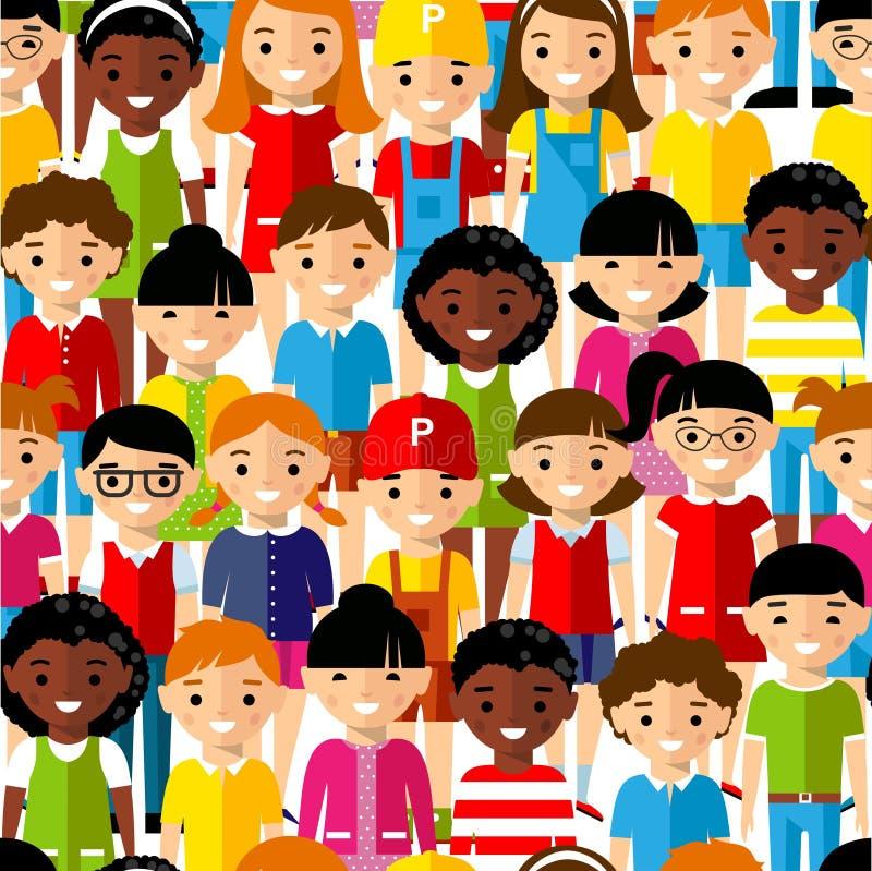 Fond sans couture des enfants réglés d'international illustration libre de droits