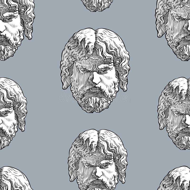 Fond sans couture des masques masculins classiques illustration libre de droits