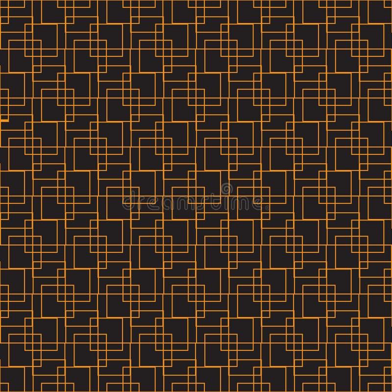 Fond sans couture des places se croisant Orange sur le fond noir Emballage d'impression de papier de textile Image de vecteur illustration libre de droits