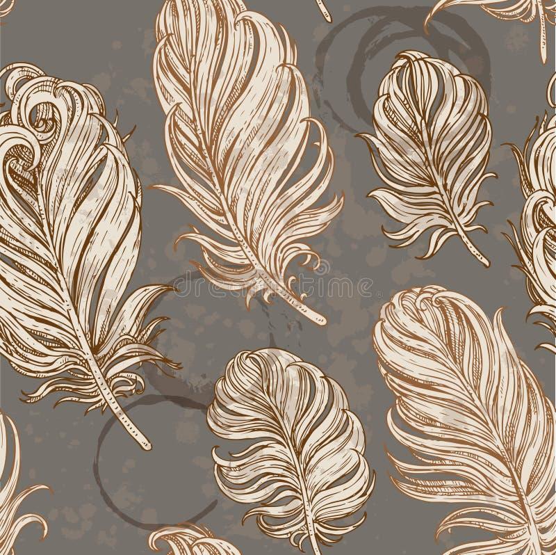 Fond sans couture des plumes d'oiseau illustration stock