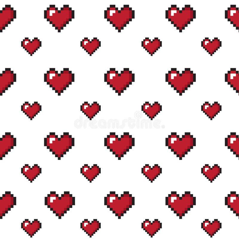 Fond sans couture du jour de valentine de coeurs de pixel photo libre de droits