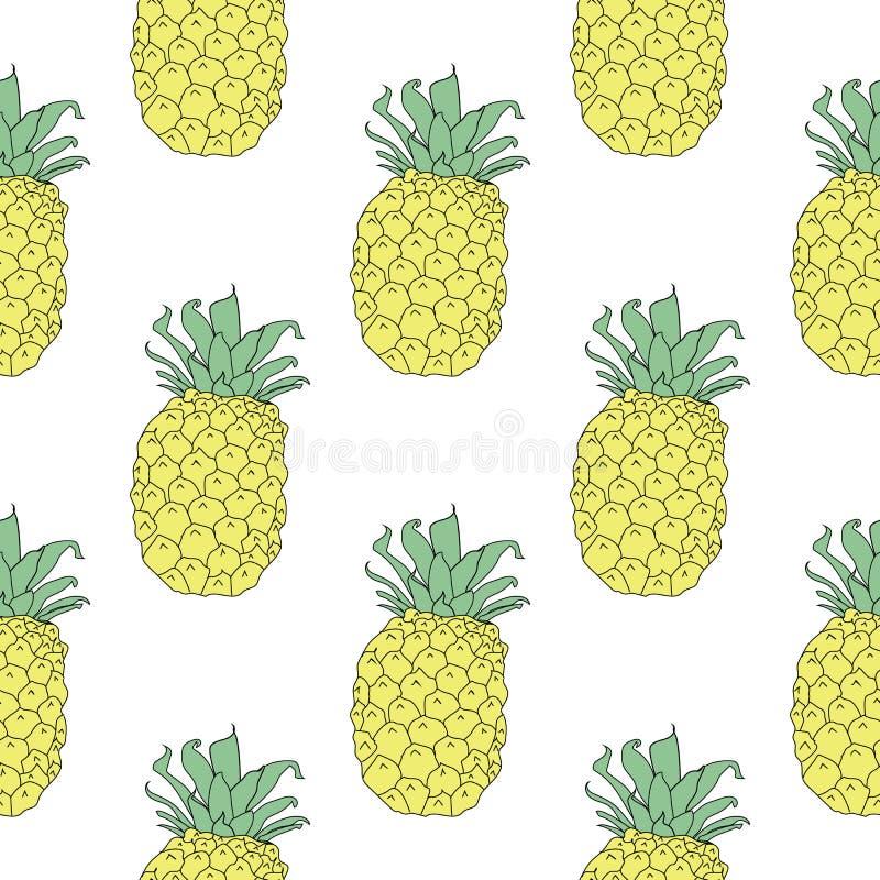 Fond sans couture estival de modèle des ananas jaunes illustration stock