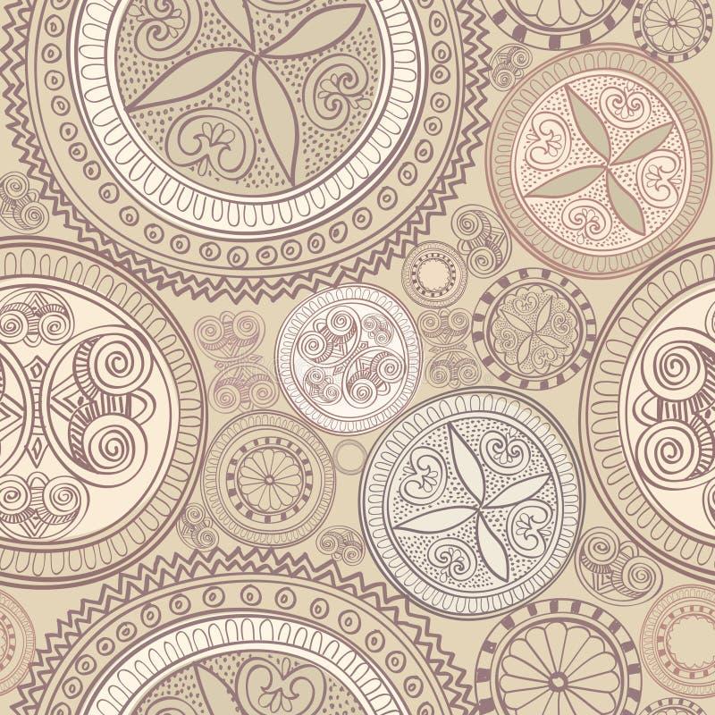 Fond sans couture ethnique abstrait. Ligne florale texture. illustration stock
